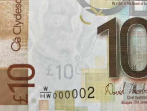 2009 Scotland 10 Pounds ** Very Low Serie: 000002 **  ( P 229 ) - UNC -