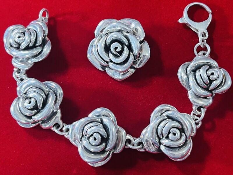 Sterling Silver Electroform Roses Rose Bracelet & Pendant Set