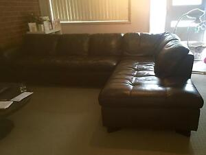 Used brown leather chaise lounge. Terrigal Gosford Area Preview