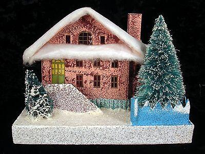 Vintage Christmas Village Cardboard Paper Putz House GIANT COTTON TOPPER Japan