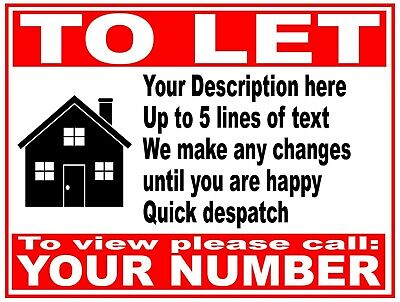 PERSONALISED House Flat Property TO LET RENT sign boards 4mm Correx  1 2 3 or 4