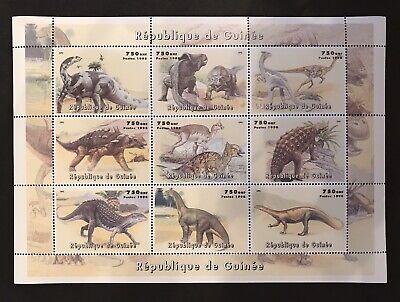 Dinosaur Stamps - GUINEA DINOSAUR STAMPS SHEET 9V 1998 MNH PREHISTORIC ANIMALS REPTILE TRIASSIC