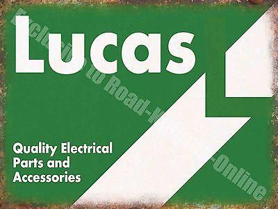Vintage Garage 70, Lucas Electrical Parts, Old Car Bike, Medium Metal Tin Sign