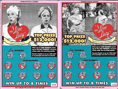 I Love Lucy  Lucille Ball  Pa Lottery Tickets  Usd   Collectors Items Only