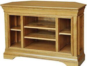French-solid-oak-furniture-corner-television-cabinet-stand-unit