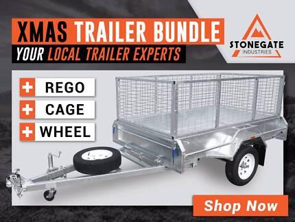 7x4 Trailer (FREE Cage, Rego and Spare Wheel) Xmas Trailer Bundle