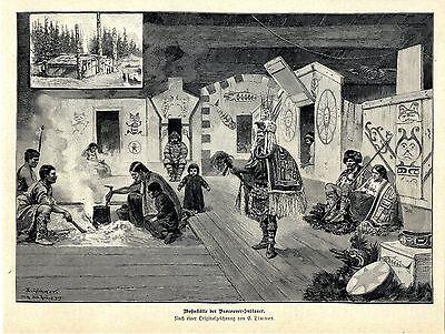 Totem Drucken (E. Limmer Wohnstaette der Vancouver-Indianer Wohnhaus Totem...Histor. Druck 1896)