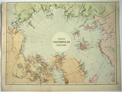 North Polar Region - Original 1882 Map by Blackie & Son. Antique. Arctic Pole