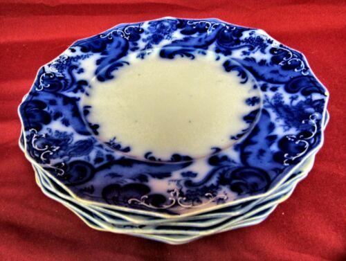 "WH Grindley Argyle Flow Blue Luncheon Plates 8 3/4"" - Set of  6"