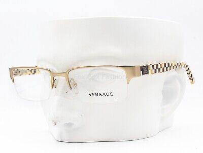 Versace MOD 1184 1282 Eyeglasses Frames Glasses Matte Gold / Checkered 53-18-140
