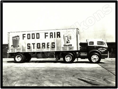 White Trucks New Metal Sign: White 3000 Food Fair Stores Delivery Truck Pictured