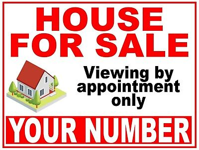 2 Colour House Flat Property FOR SALE sign boards Personalised with Phone Number