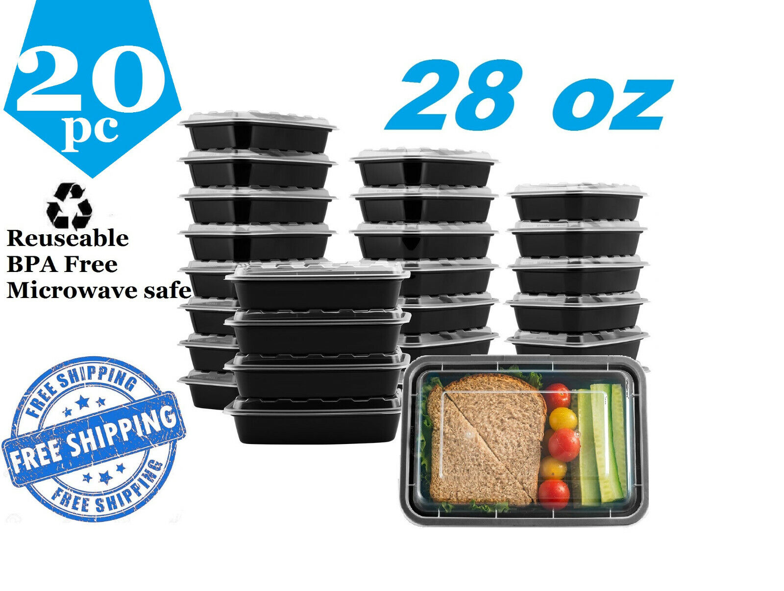 20 Piece 28oz Meal Food Prep Bento Box Containers Microwavable Plastic BPA free Food Storage Containers
