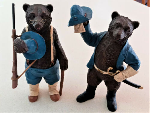 """Midwest of Cannon Falls Teddy Roosevelt Rough Rider Large 8"""" Bear Figurines RARE"""