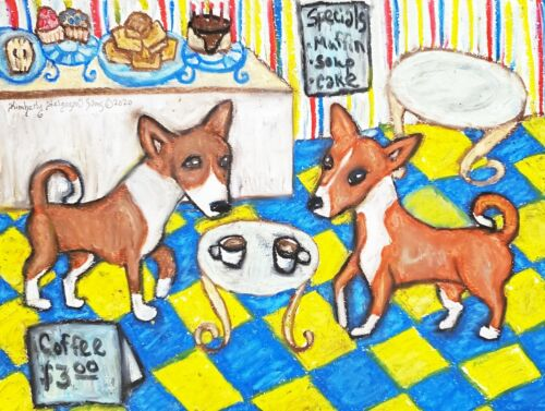 Basenji Collectible 4x6 Dog Pop Art Print Signed by Artist KSams Coffee