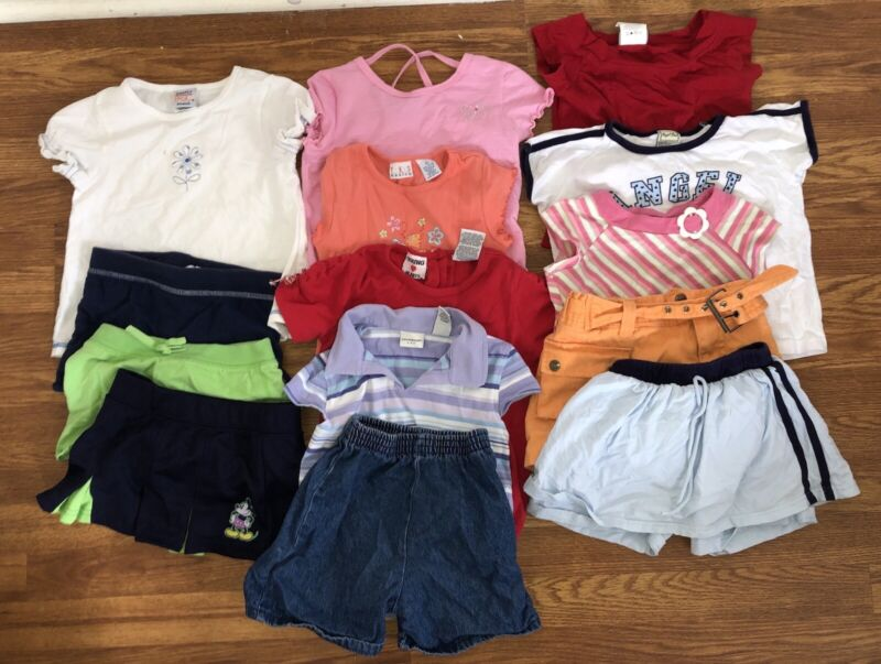Vintage 14 piece Toddler Girl 6 shirts skort skirt shorts 1990s outfits sets