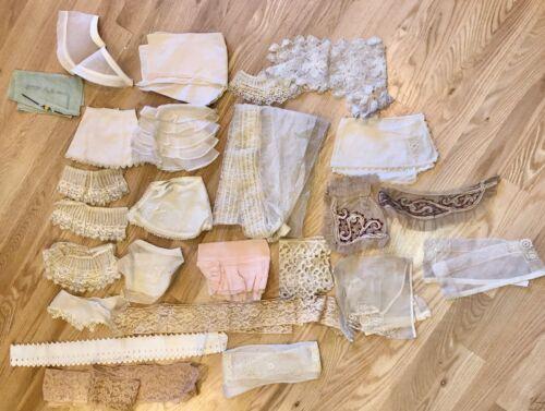 Lot Antique Lace Trim Collars Cuffs 26 Pieces              LS