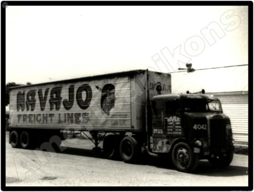 White Freightliner Trucks New Metal Sign: Navajo Freight Lines Tractor Trailer