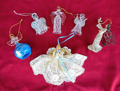 Lot of 6 Vintage Angel Ornments.  Clear Glass Hand Blown- Lace-Lady Bird/Stars (Clear Glass Ornaments Bulk)