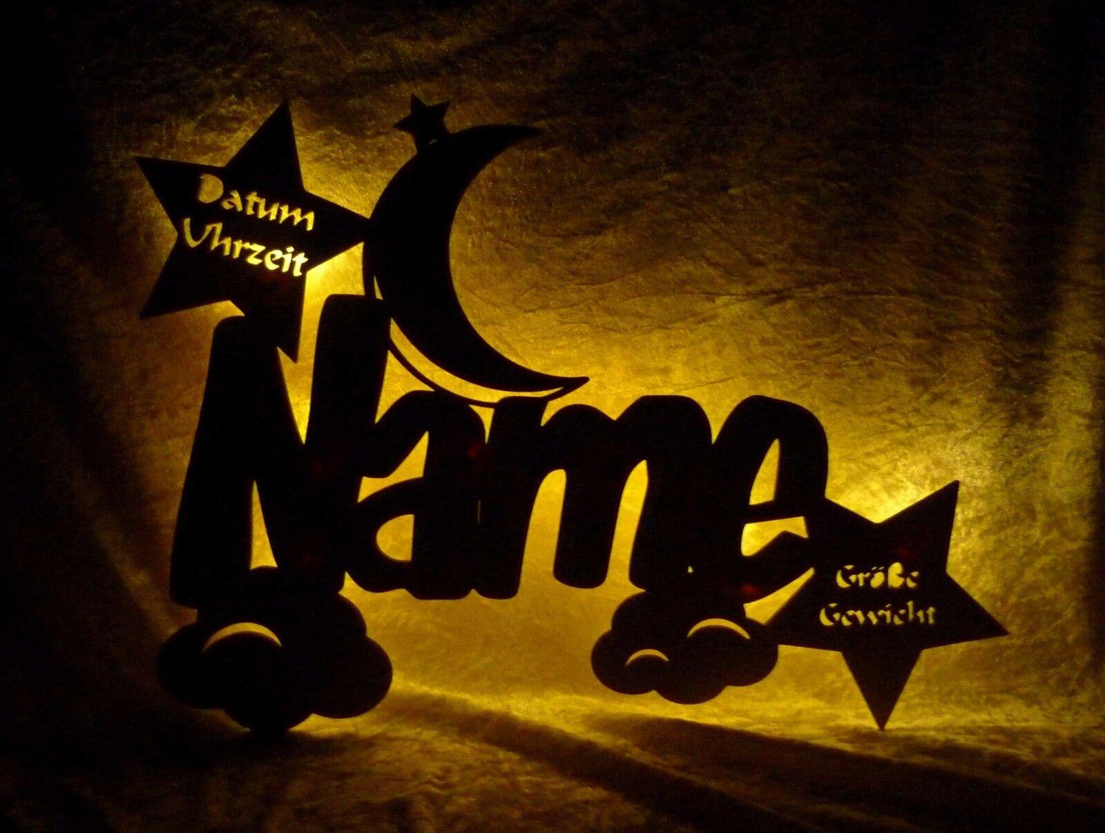 """Nachtlicht Lampe - """"Wolkenmondi"""" Geschenke zur Geburt Taufe Mädchen Junge + Name"""