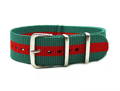 NATO 18mm Green and Red Military Armed Forces Watch Strap ( Emergency Services
