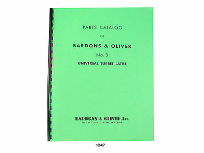 Bardons Oliver No.3 Universal Turret Lathe Parts List Manual Catalog 1047