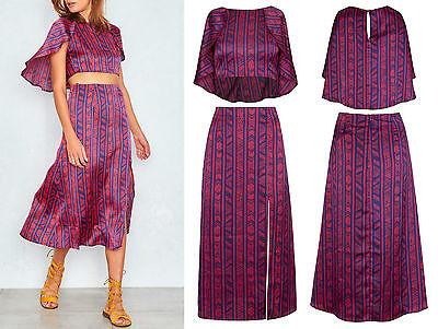 Ladies Boho Print Asymetric Crop Top High Waist Split Midi Skirt Co Ord Set 6 14