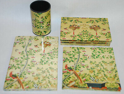 Paper Company Tree (Vintage 4 piece Desk Set Gloucester Road Paper Company Cream Birds Trees )