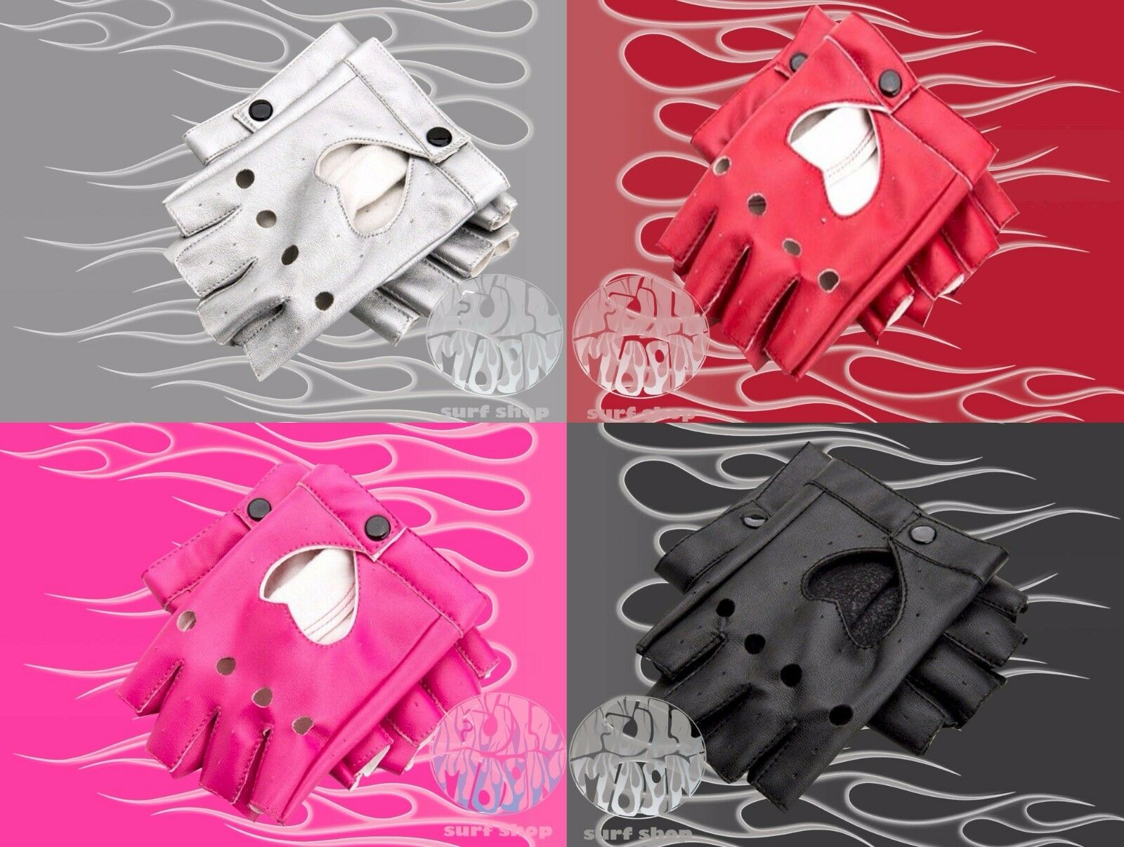 Fake leather driving gloves - New Womens Faux Leather Fingerless Punk Motorcycle Cosplay