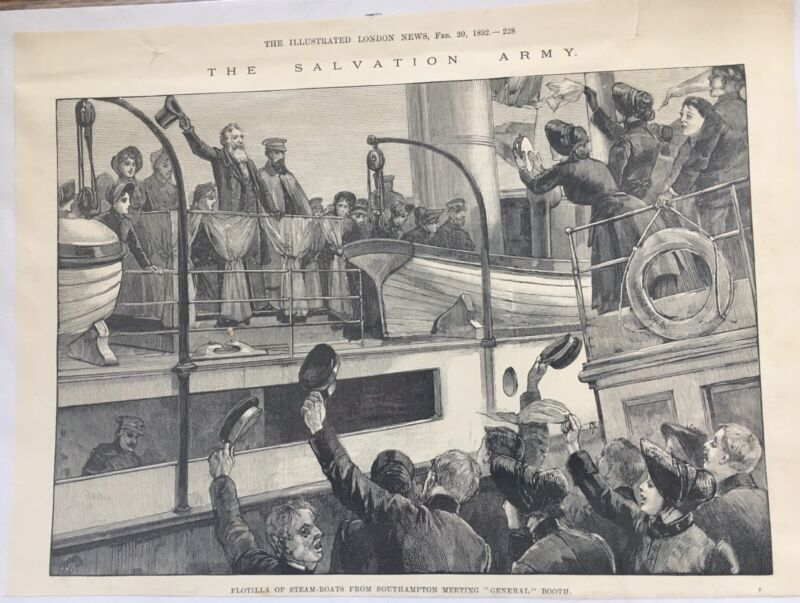 1892 SALVATION ARMY From The Illustrated London News Steam Boats Meet Gen. Booth