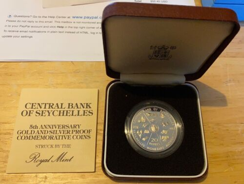 1983 SEYCHELLES 20 RUPEES 5th Anniversary of Central Bank Proof KM#52a