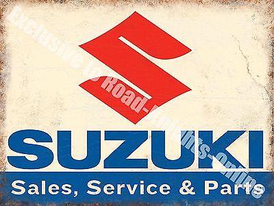 Suzuki Classic 70's Retro Motorcycle, Bike 109 Old Garage, Small Metal Tin Sign