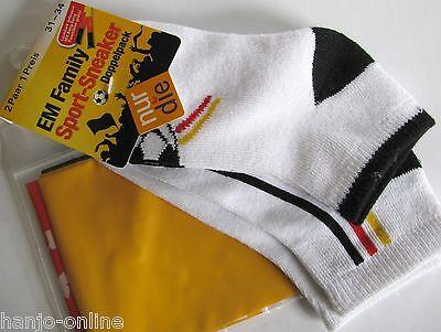 NUR DIE 2 Paar Sport Sneaker Fußball 30% Baumwoll Söckchen Gr 31 - 34 Farbe weiß