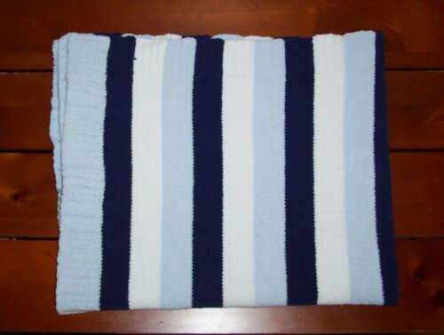 Lollypop Blue White Stripe Baby Blanket Chenille Security Lovey