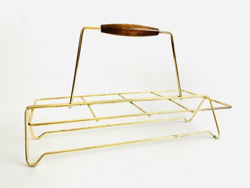 Stunning Mid-Century Modern Gold Glass Caddy Carrier Barware With Wood Handle