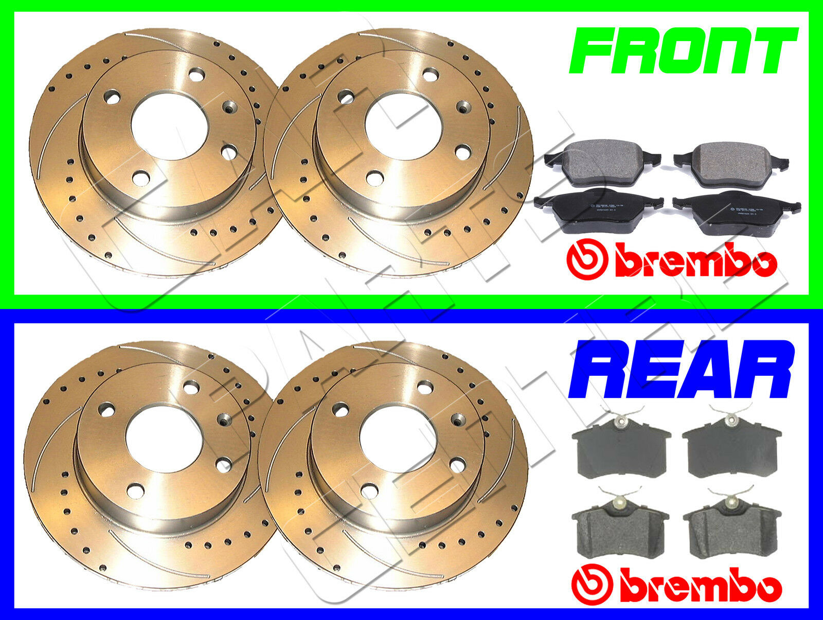 Bora 1.9 TDi 100 Drilled Grooved Brake Discs Front