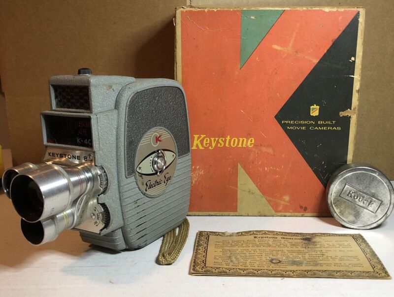 Vtg Keystone K-4C 8mm Movie Camera - Made in USA - ANTIQUE estate find With Film