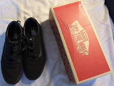 Vans Ward Junior Trainers, All Black Canvas size 5.5