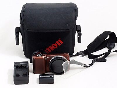 Sony Alpha NEX-3 Digital Camera Body COPPER COLOR and Items Shown