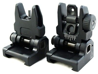Spring Iron - UTG Flip-up BUIS Sight Set Spring PopUp Folding Iron Sights Picatinny Rail Mount