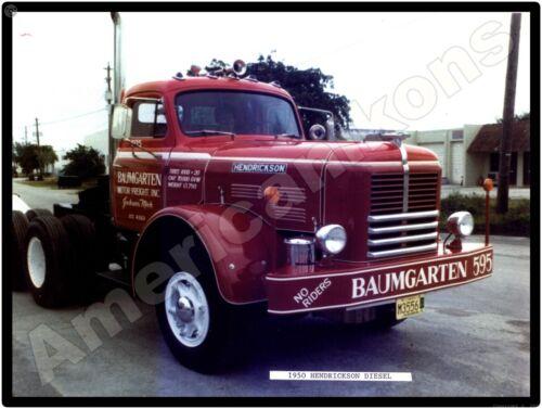 1950 Hendrickson Trucks New Metal Sign: Baumgarten Motor Freight, Jackson, MI