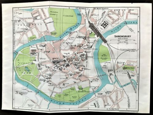 Rare Antique Color Map : SHERWSBURY, ENGLAND : 100% AUTHENTIC ORIGINAL 1930
