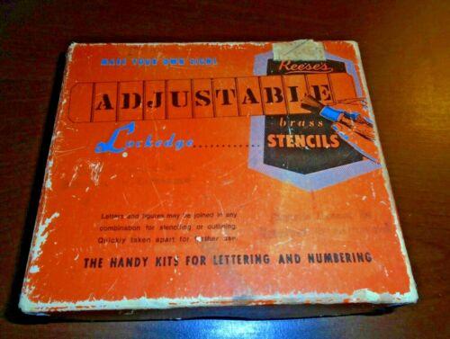 "Reeses Vintage Adjustable 4"" Brass Stencils Lockedge w 2"" Letters, Punctuation"