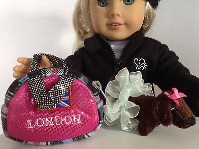 """Pet Carrier Purse & Dog for American Girl Doll 18"""" Accessories Fit London SET"""
