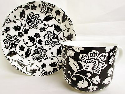 Florence Black & White Large Cup & Saucer Bone China Breakfast Set Decorated UK White Breakfast Cup