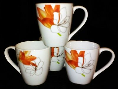 Tabletops Gallery Porcelain Coffee Cups, Lily Pattern Dinnerware, Set of 4 Mugs