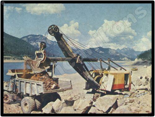 1958 Manitowoc Cranes New Metal Sign: On the Job Loading Dump Truck
