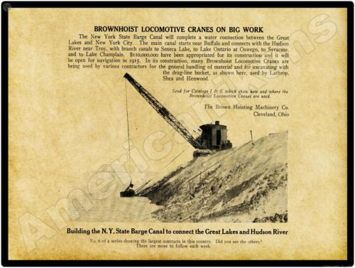 1913 Brownhoist Cranes NEW Metal Sign: NY State Barge Canal - 12x16 Large Size