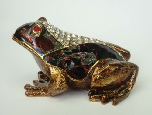 FROG HINGED TRINKET BOX QIFU BEJEWELED CRYSTALS & ENAMELED Brown Yellow RED EYES