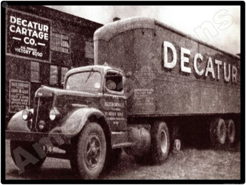 White Trucks New Metal Sign: Decatur Cartage Company Truck & Trailer Pictured